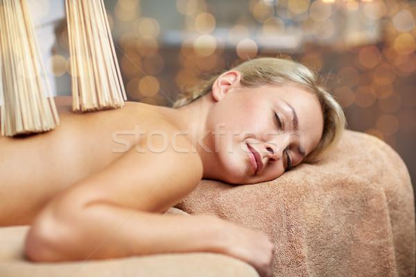 Mulher samurai massagem estância termal pessoas Foto stock © dolgachov