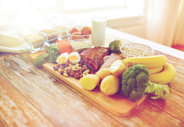 close up of different food items on table Stock photo © dolgachov