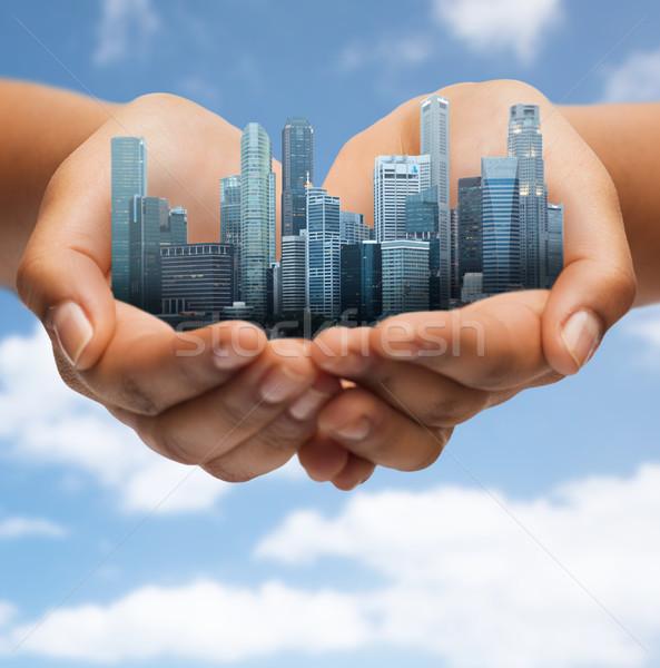 Handen stad blauwe hemel architectuur gebouw Stockfoto © dolgachov