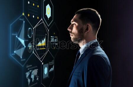 бизнесмен прикасаться виртуальный экране деловые люди технологий Сток-фото © dolgachov