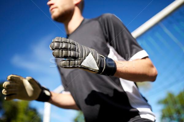 вратарь футболист футбола цель спорт люди Сток-фото © dolgachov