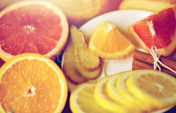 меда цитрусовые плодов имбирь корицей традиционный Сток-фото © dolgachov