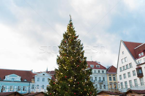 christmas tree at old town hall square in tallinn Stock photo © dolgachov