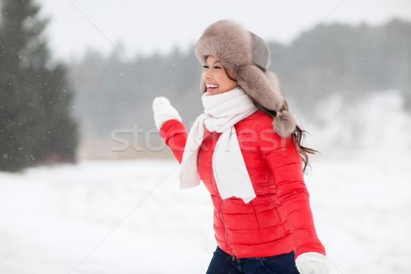 Heureux femme hiver fourrures chapeau extérieur Photo stock © dolgachov