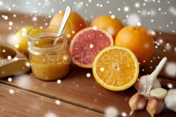 はちみつ 柑橘類 果物 生姜 ニンニク 木材 ストックフォト © dolgachov