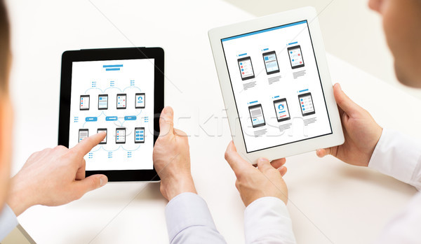 web designers with user interface on tablet pc Stock photo © dolgachov