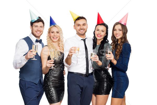 Amigos champanhe óculos festa de aniversário celebração férias Foto stock © dolgachov