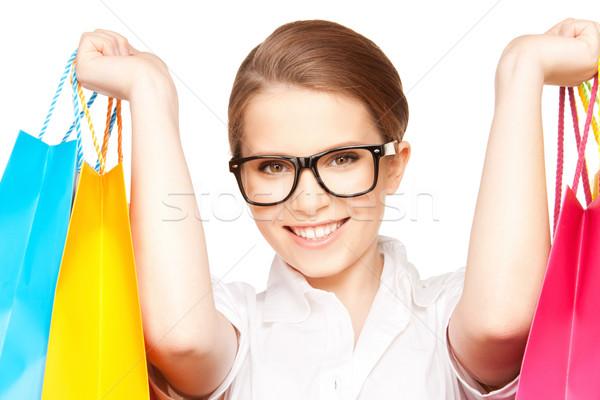 Vásárló kép nő bevásárlótáskák boldog diák Stock fotó © dolgachov