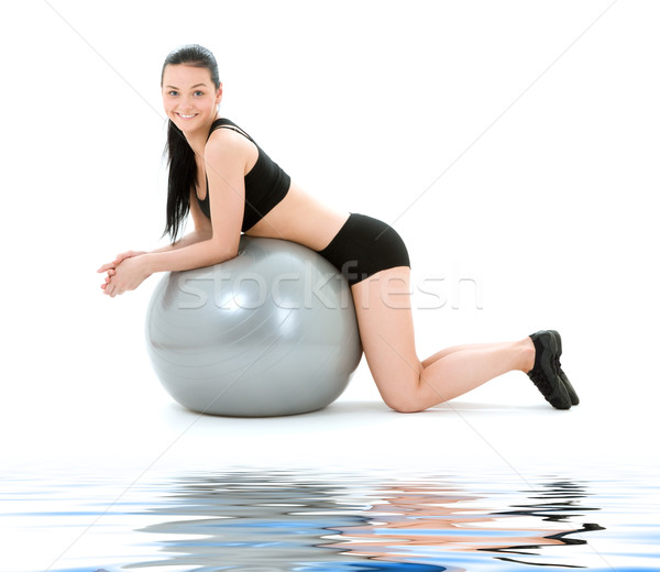 Fitness instruktor pilates piłka kobieta wody Zdjęcia stock © dolgachov