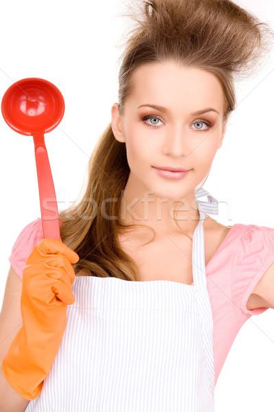 Gospodyni domowa czerwony chochla zdjęcie piękna kobieta Zdjęcia stock © dolgachov