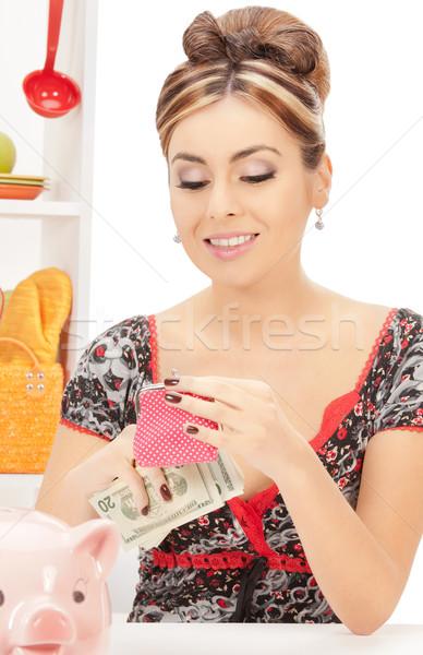 красивой домохозяйка кошелька деньги фотография женщину Сток-фото © dolgachov