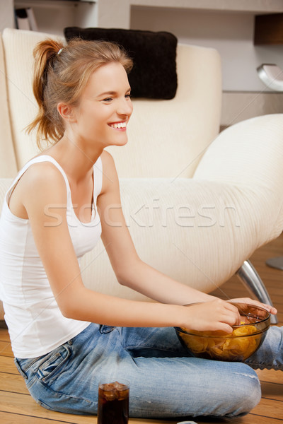 улыбаясь чипов кокса фотография женщину Сток-фото © dolgachov