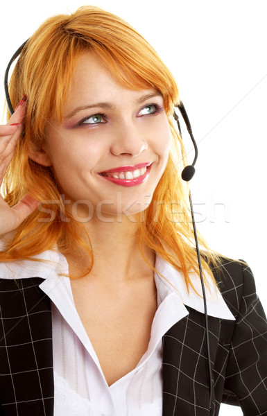 Feliz servicio al cliente nina sonriendo dama Foto stock © dolgachov