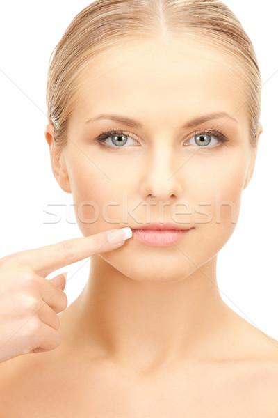 女性 触れる 唇 顔 美人 モデル ストックフォト © dolgachov