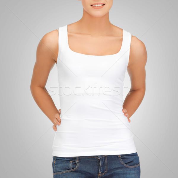 Mulher branco tanque topo tshirt projeto Foto stock © dolgachov