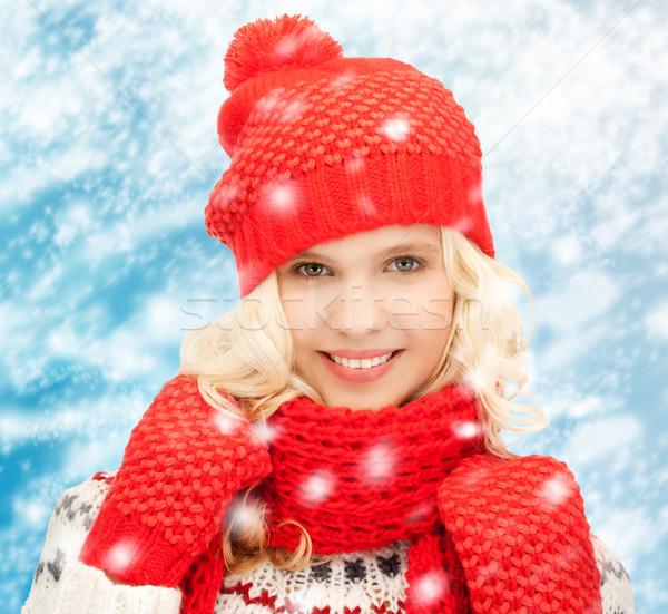 十代の少女 帽子 マフラー ミトン 冬 人 ストックフォト © dolgachov
