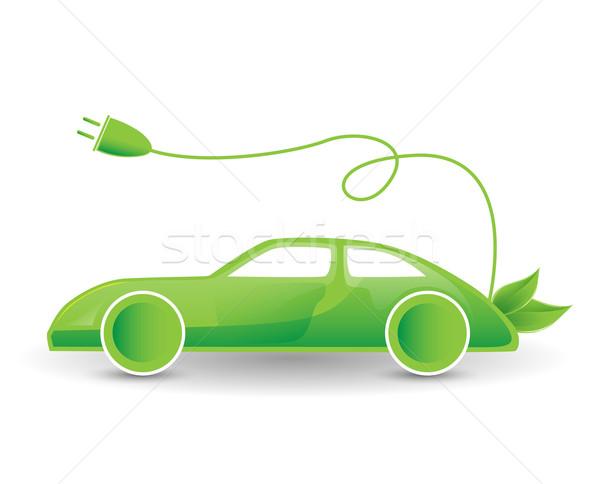 Zöld öko elektromos autó illusztráció bio hibrid Stock fotó © dolgachov
