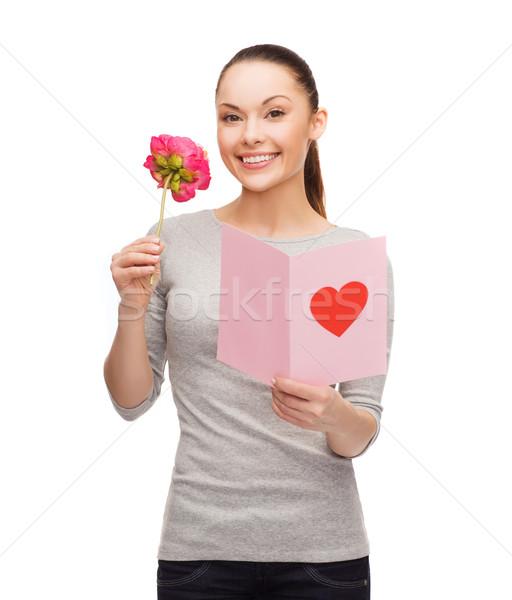 Uśmiechnięta kobieta pocztówkę kwiat miłości wakacje szczęścia Zdjęcia stock © dolgachov