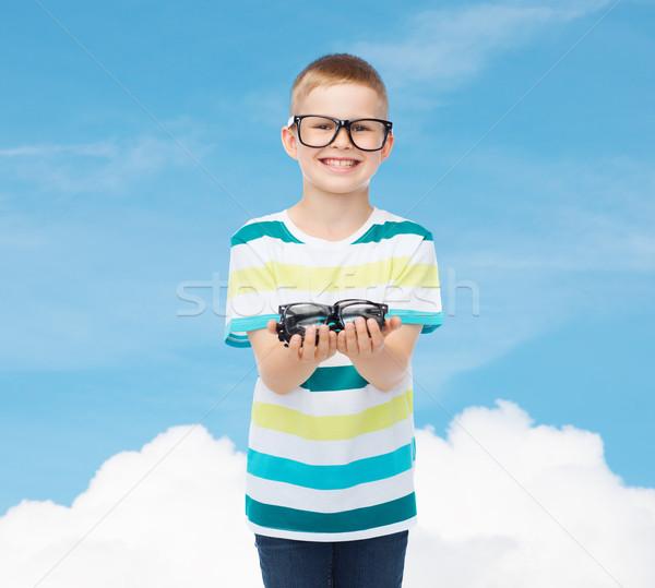 Uśmiechnięty chłopca okulary okulary wizji Zdjęcia stock © dolgachov