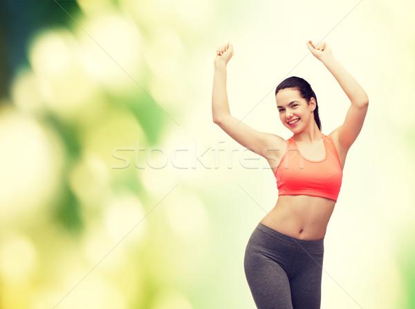 Mosolyog tinilány sportruha tánc fitnessz diéta Stock fotó © dolgachov