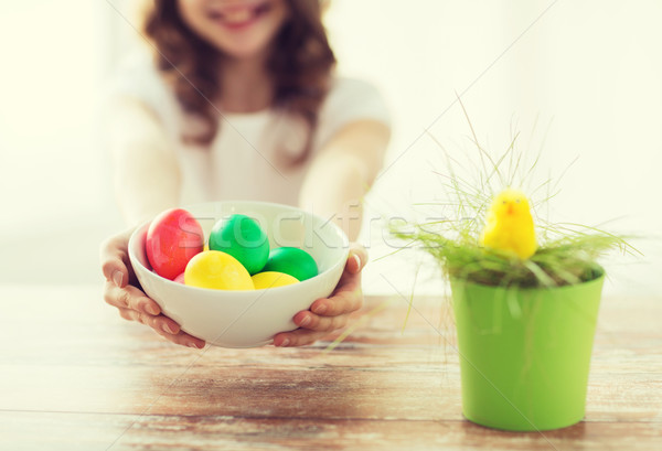 close up of girl holding bowl with colored eggs Stock photo © dolgachov