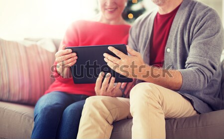 close up of lesbian couple with smartphone at home Stock photo © dolgachov