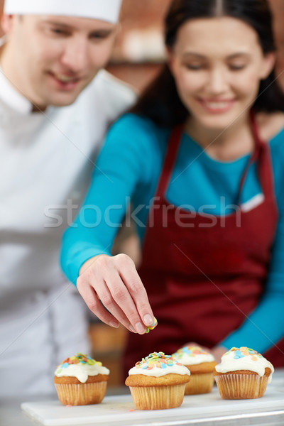 happy woman and chef cook baking in kitchen Stock photo © dolgachov