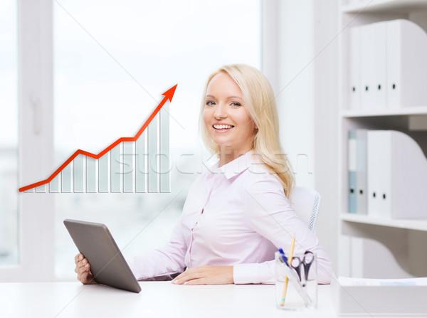 Stock fotó: Mosolyog · üzletasszony · diák · táblagép · oktatás · üzlet