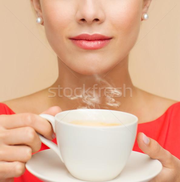 笑顔の女性 赤いドレス カップ コーヒー レジャー 幸福 ストックフォト © dolgachov