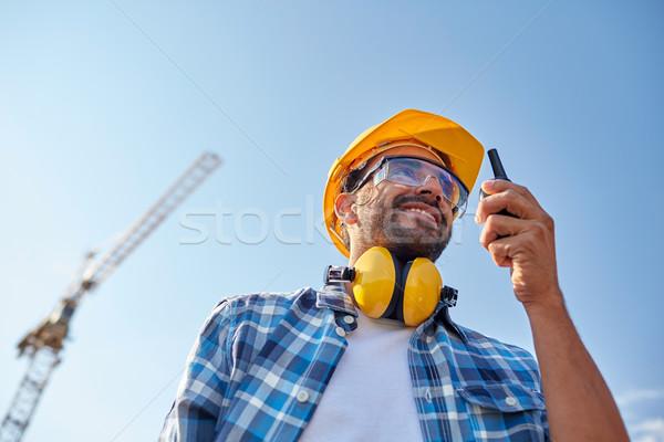 építész munkavédelmi sisak adóvevő ipar épület technológia Stock fotó © dolgachov