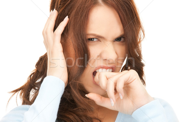 Mutsuz kadın parlak resim beyaz üzücü Stok fotoğraf © dolgachov