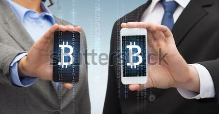 Stock fotó: üzletember · üzletasszony · okostelefonok · üzlet · technológia · internet