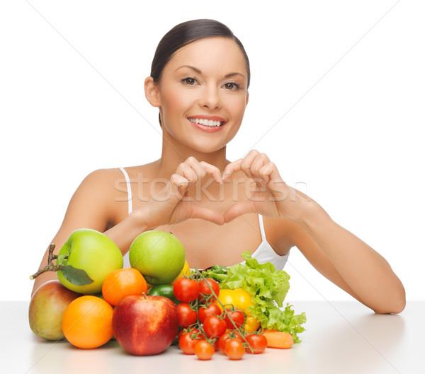 Kobieta owoce warzyw zdjęcie piękna kobieta żywności Zdjęcia stock © dolgachov