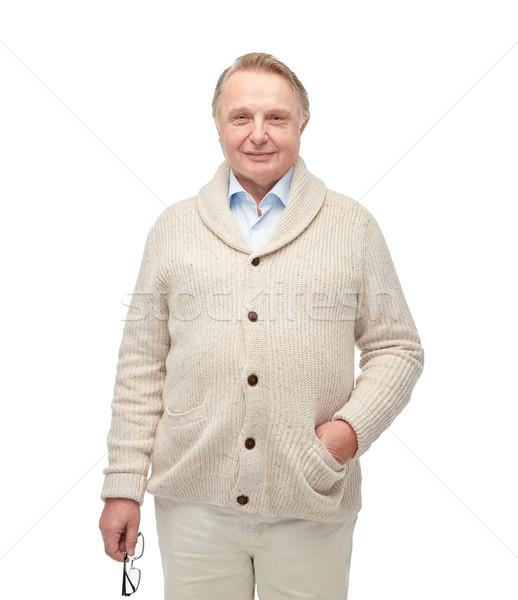 Stockfoto: Glimlachend · senior · man · cardigan · leeftijd · mode