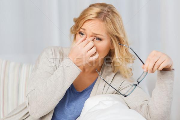 устал женщину очки люди здравоохранения Сток-фото © dolgachov