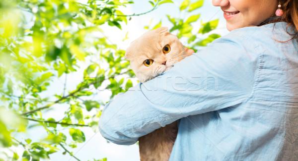 woman holding scottish fold cat over tree Stock photo © dolgachov