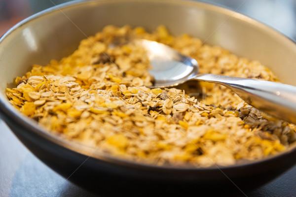 çanak granola müsli kaşık gıda Stok fotoğraf © dolgachov