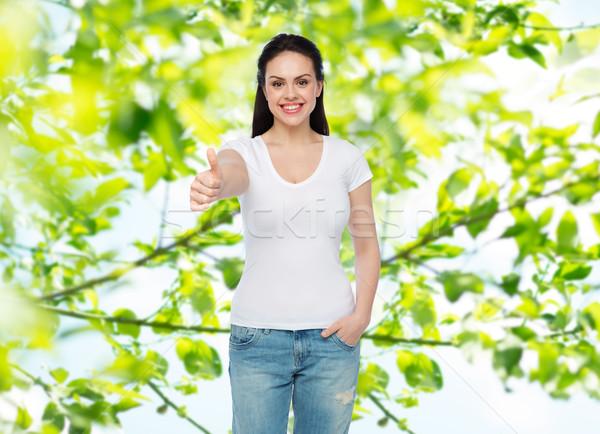 Heureux blanche tshirt annonce Photo stock © dolgachov