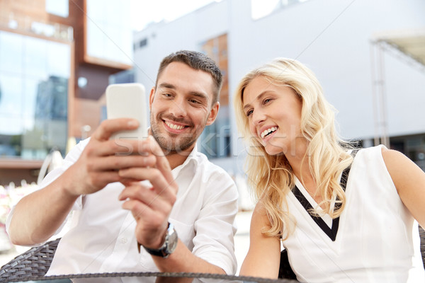Feliz casal restaurante terraço amor data Foto stock © dolgachov