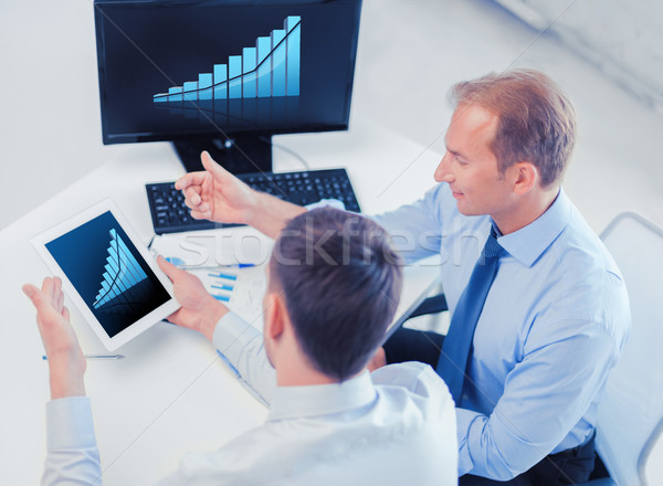 businessmen with tablet pc and computer at office Stock photo © dolgachov