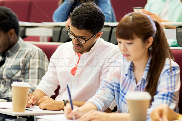 Grupy studentów kawy piśmie wykład edukacji Zdjęcia stock © dolgachov