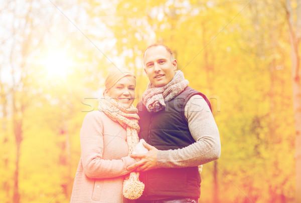 улыбаясь пару осень парка любви отношения Сток-фото © dolgachov
