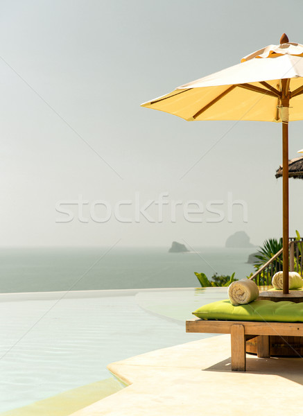 view from infinity edge pool with parasol to sea Stock photo © dolgachov