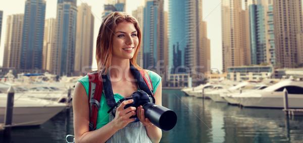 女性 リュックサック カメラ ドバイ 市 冒険 ストックフォト © dolgachov