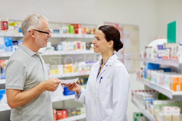 senior man giving prescription to pharmacist Stock photo © dolgachov