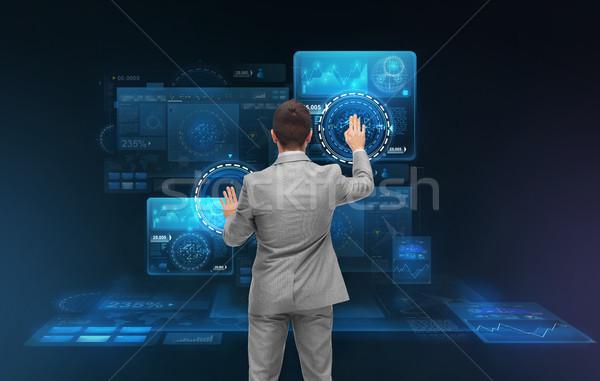 Işadamı çalışma sanal iş adamları teknoloji siber Stok fotoğraf © dolgachov