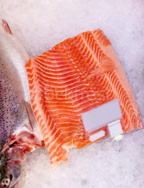 鮭 魚 フィレット 氷 食料品 シーフード ストックフォト © dolgachov