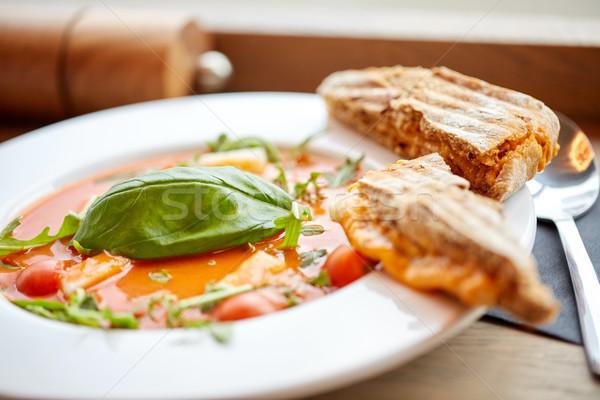 Placa delicioso sopa restaurante de comida cena culinario Foto stock © dolgachov
