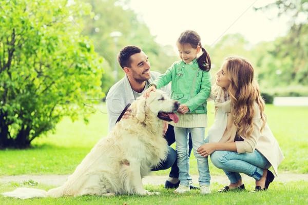 Famiglia felice labrador retriever cane parco famiglia pet Foto d'archivio © dolgachov