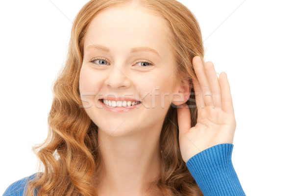 Praatjes heldere foto jonge vrouw luisteren vrouw Stockfoto © dolgachov
